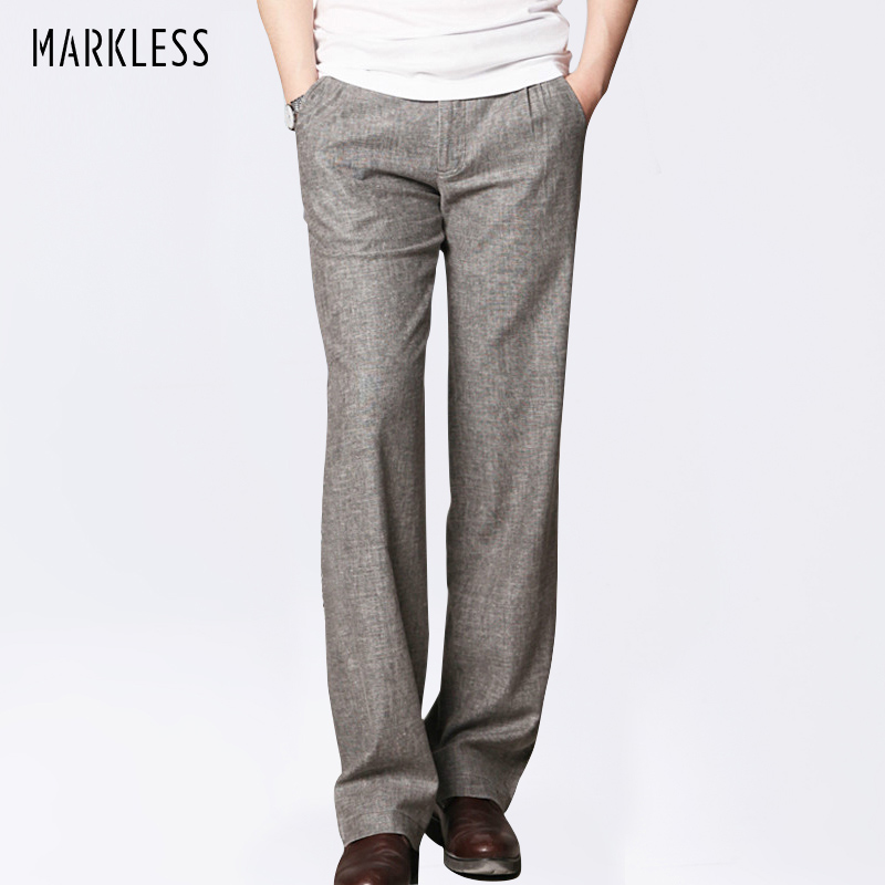 Markless Thin Linen Men Byxor Manliga Kommersiella Loose Casual Business Byxor Herrkläder Straight Fluid Man Byxor