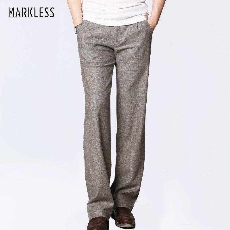 Markless Thin Linen Men Pants Male Commercial Loose Casual Business Trousers font b Men s b