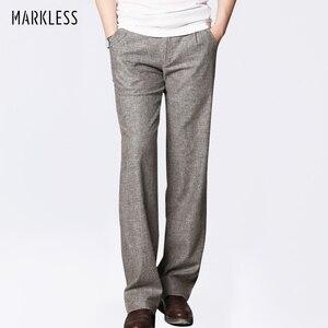 Image 1 - Markless cienki len męskie spodnie męskie komercyjne luźne dorywczo spodnie biznesowe odzież męska proste płynne spodnie męskie