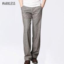 Markless ince keten erkek pantolon erkek ticari gevşek rahat iş pantolonu erkek giyim düz sıvı erkek pantolonları