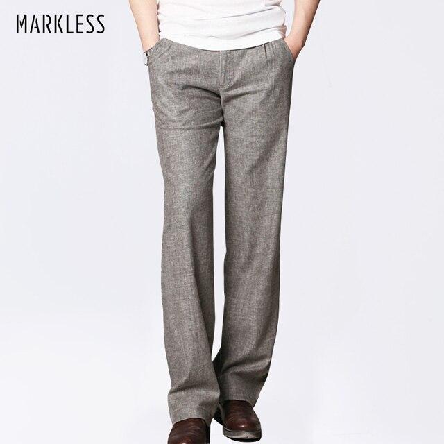 diversifié dans l'emballage coupon de réduction premier taux Markless mince lin hommes pantalon mâle Commercial lâche décontracté  affaires pantalon vêtements pour hommes droit fluide homme pantalon
