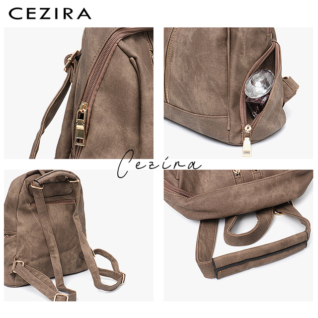 CEZIRA Fashion New Pu Vegan Leather Backpack Multi Zip Pockets Knapsack Women High Quality Bags Daily Holiday Shoulders Bags 2