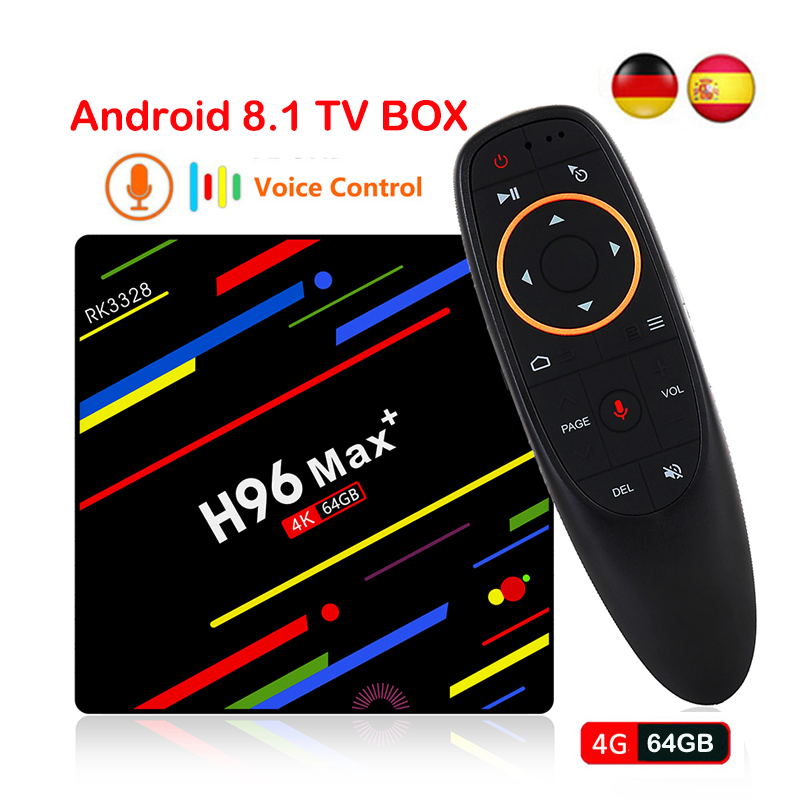 цена на H96 MAX Plus TV Box Android 8.1 4GB 32GB 64GB Smart Set Top Box RK3328 Quad core 2.4G/5G Wifi USB3.0 HDR10 4K H.265 Media Player