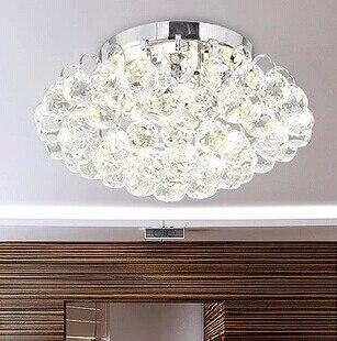 3 lumières modernes de bâti affleurant de plafonnier avec des gouttes en cristal E12/E14 40 W AC 30*30*18 CM