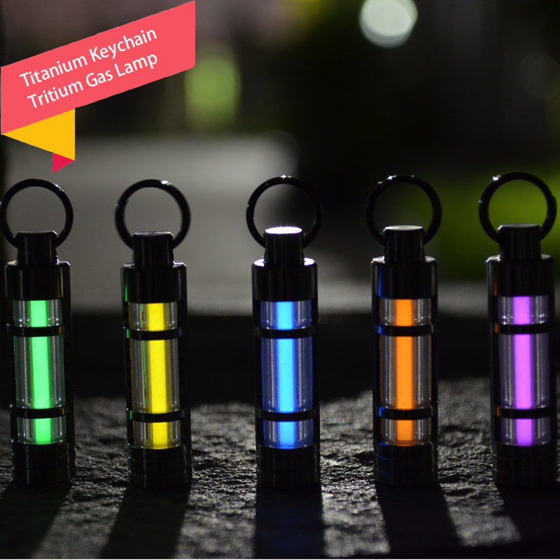 Titanium Keychain Tritium Gas Lamp Automatic Lights Titanium Key Ring Life Saving Emergency Lights For Outdoor Survival Tool