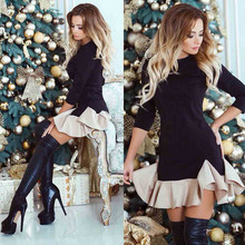 Women 2019 new fashion dress O-Neck slim color stitchingTight Ruffle Evening Party vestidos Half Sleeve Mini Loose hem Dress