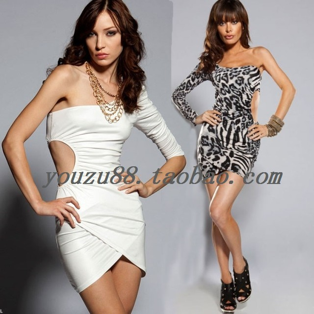 Costumes sexy slim one shoulder cutout one-piece dress prom evening dress banquet dress short skirt