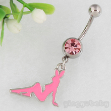 Retail Bunnies Belly Button ring Navel Ring Fashion Jewelry nickel-free body piercing 14G 316L surgical steel bar free shipping