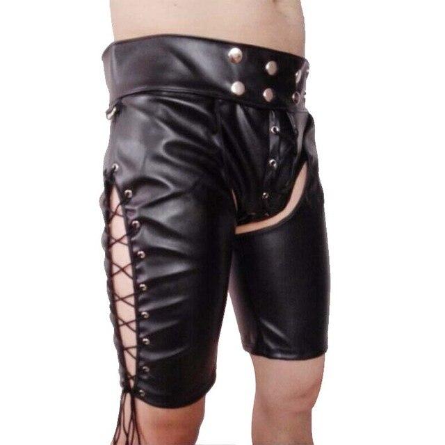 Nouveau 2020 hommes noir Faux cuir verni pantalon discothèque scène maigre Performance pantalon hommes Sexy ouvert entrejambe pantalon