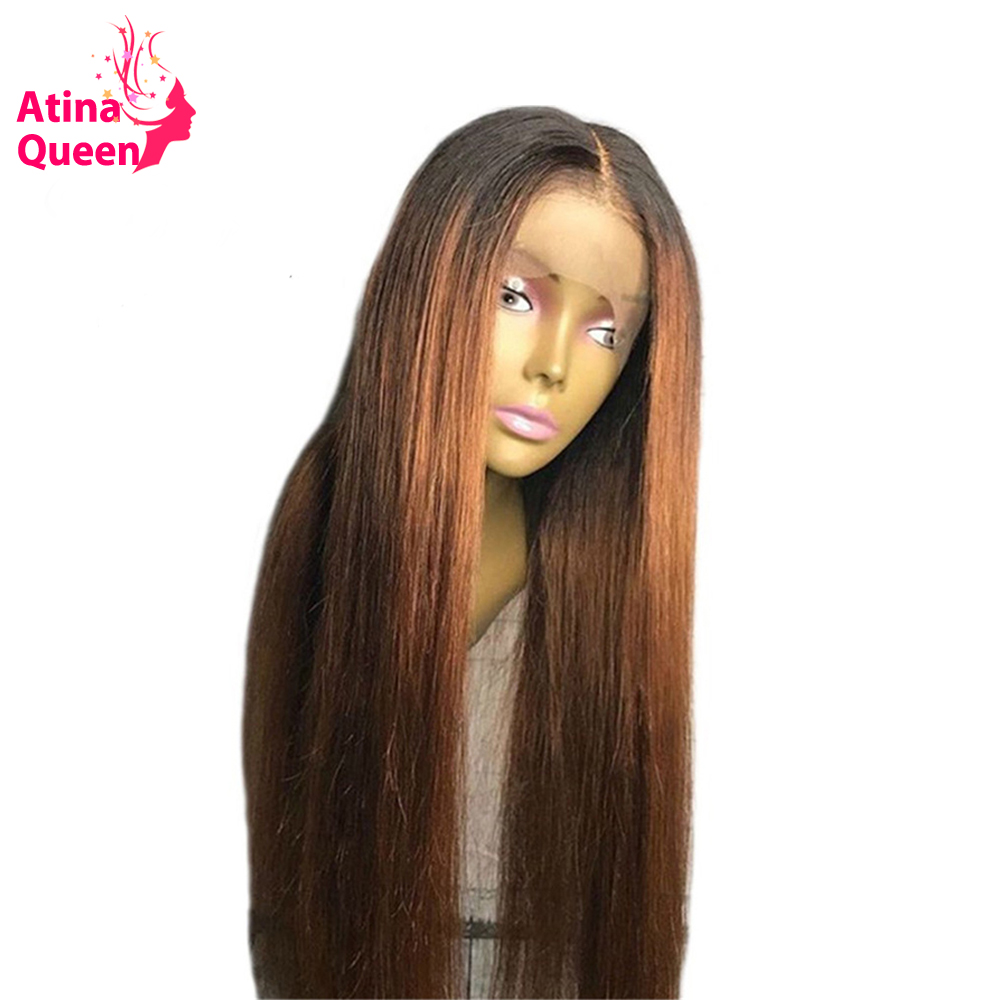 13 6 Deep Parting Ombre Color Lace Front Human Hair Wigs With Baby Hair Pre Plucked