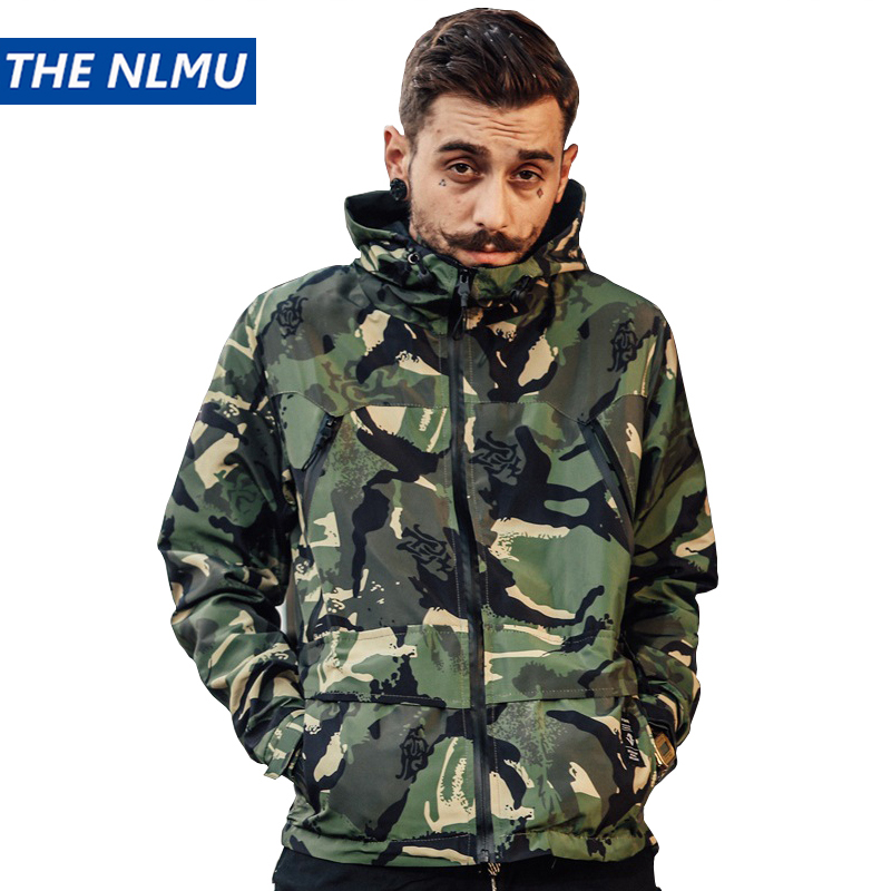 Camouflage Windbreakers Jackets Men Women Military Tactical Jacket 2018 Autumn Hiphop Streetwear Casual Clothing Black WS136