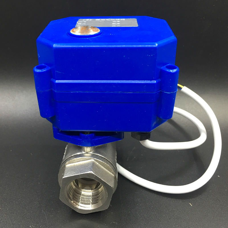 2 Way BSP 1/2'' Stainless Steel Electric Ball Valve DC12V 3 Wires CR02 Wiring DN15 Electric Shut Off Valve CE Approved
