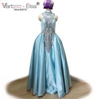 VARBOO ELSA Vestido De Festa 2018 New Light Blue Satin Evening Dress Elegant High Neck Beaded