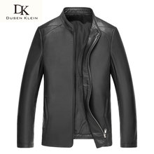 Dusen Klein Luxury Spring leather jackets for man real sheepskin slim/Business black coat brand 61S1630