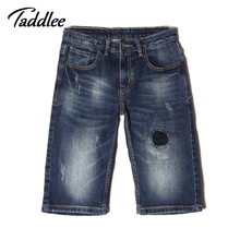Taddlee Brand Summer Short Jeans Trousers For Men 2016 Fashion Casual men jeans Denim Cotton Straight Knee Length Shorts Ripped