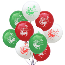 10Pcs Red Green Elk Merry Christmas Latex Balloons Happy New Year Party Decoration Balloon Xmas Supplies
