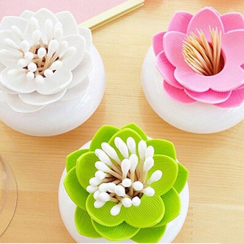 En plastique Lotus Coton-Tige Boîte de Coton-Tige Holder Décoratif Boîtes De Rangement Lotus Cure-Dents Titulaire Cas avec Couvercle anti-Poussière