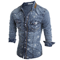 2017 New Fashion Brand Men Jeans Shirt Leisure Slim Fit Casual Denim Shirts Long Sleeve Male Cowboy Shirt Camisa Jeans Masculina