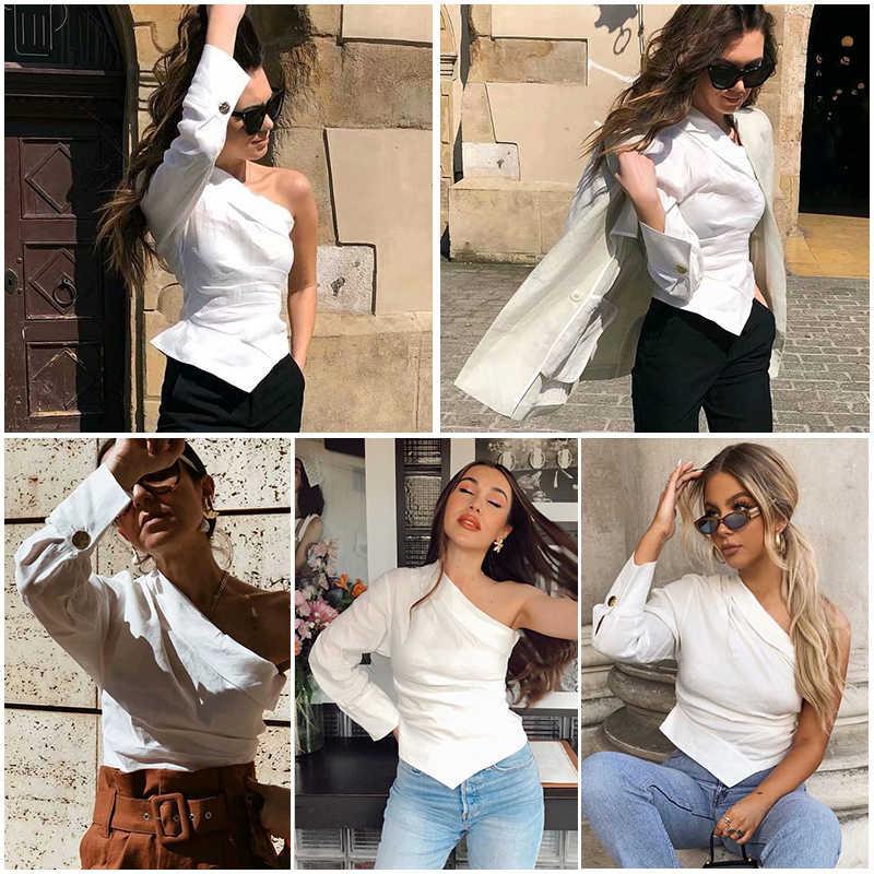 Thời trang Nữ Trắng 1 Vai Áo Sơ Mi 2019 Nữ Mùa Hè-Thu Cotton-Vải Lanh Áo Sang Trọng Bé Gái Cổ Đường Phố- mặc Áo Femme