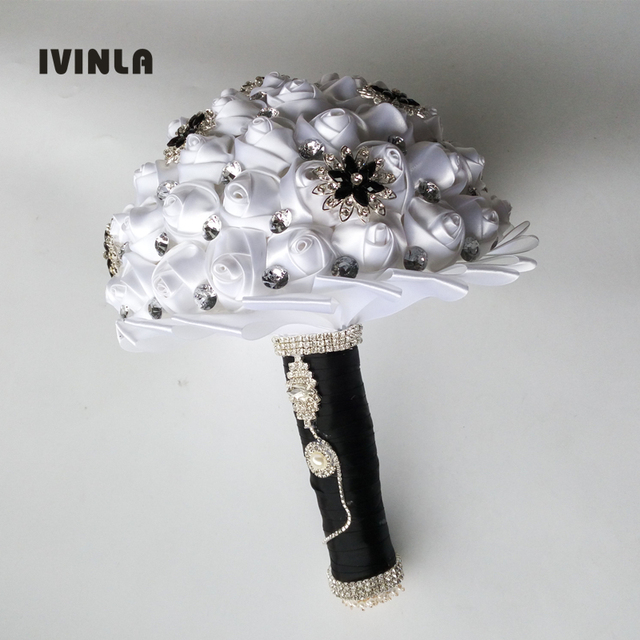 1Pc/lot White Wedding Bouquets Hand made Flower with black ...