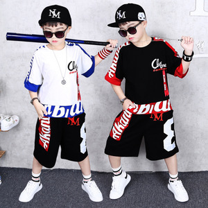 Image 2 - Boys Clothes Sports Suit Boy 2019 Summer Set Two piece Childrens Wear stitching suit 4 6 8 10 12 14 16 Years old Child clothes