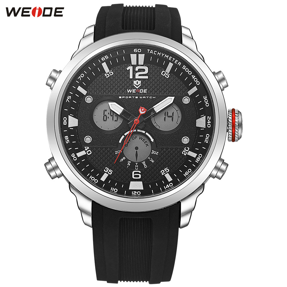 Fashion Casual WEIDE Men LED Watch Functional Sport Watch Men Digital Quartz Watch Men Date Day Stopwatch Army Wristwatches Gift speatak sp9041g fashionable men s quartz watch w six stitch stopwatch black golden 1x lr626