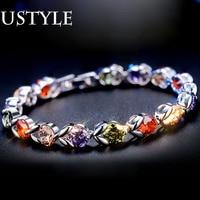 USTYLE White Gold Plated Bracelet Bangle For Women 2015 Fashion Bracelet With 18pcs 0 6cm Multicolor