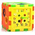 Plástico 10 Furos Geometria Com Relógio Caixa de Inteligência Para Crianças Classificador de Forma Correspondente Bloco Crianças Brinquedos D266