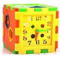 Plastic 10 Holes Geometry With Clock Intelligence Box For Children Shape Sorter Matching Block Kids Toys D266