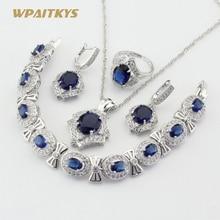 цена Silver Color Jewelry Sets For Women Dark Blue Crystal White CZ Necklace Pendant Bracelets Earrings Rings Free Gift Box в интернет-магазинах