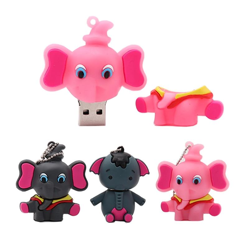 100 Real capacity pen drive cartoon Elephant usb flash drive 4GB 8GB 16GB 32GB 64GB cute memory stick creative gift pendrive in USB Flash Drives from Computer Office