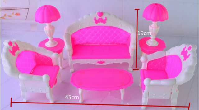 6Pcs Plastic Parlour Sofa Chair Set For Dollhouse Furniture Living Room  Barbie Acessorios House Furniture For