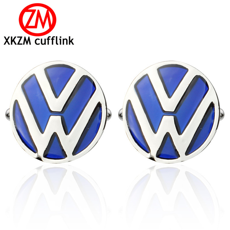XKZM Jewelry French shirt cufflink for mens brand blue Volkswagen car logo Cuff link Luxury Wedding Button silver High Quality