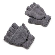 Unisex Coral Cashmere Knitted Fingerless Gloves  Winter Soft Warm Mittens Gloves