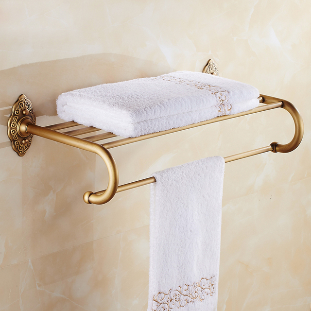 Good Quality Bathroom Bath Towel Shelf with Towel Bar Wall Mounted ...