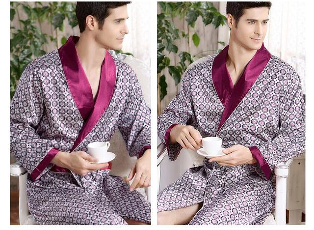Hombre de bata de seda al por mayor de moda totem primavera verano thin manga larga pijamas albornoz Para Hombre