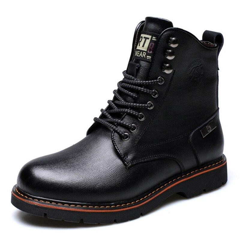 marron Mâle Vintage Noir De Style cut Moto Chaussures Rond Bout Bottes Hommes Confortable Casual Haute Hiver Plus Lacets Aa51593 Fourrure UzVSMpqG