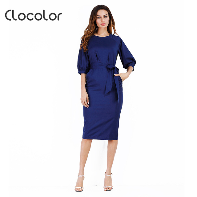 ed44fe5124e Clocolor Women Office Dress Black Date Red Round Neck Light Apricot Royal  Blue Pullover Pullover2018 Summer Women Bodycon Dress