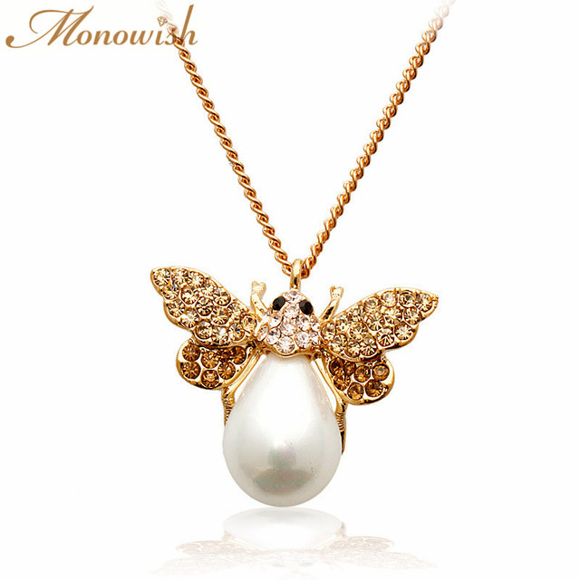 Monkeyish fashion imitation pearl cute little bee pendant crystal monkeyish fashion imitation pearl cute little bee pendant crystal zircon necklace womens accessories aloadofball Images