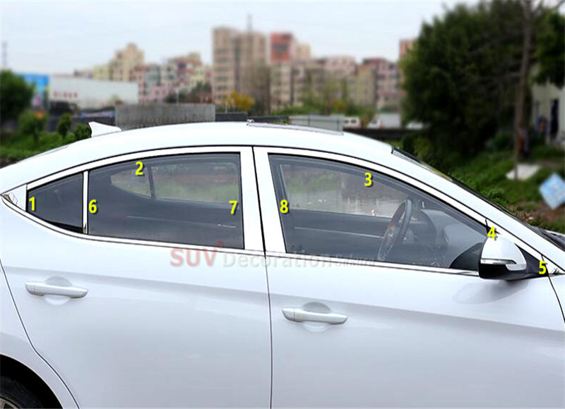 NEW!!! For Sixth Generation for Hyundai Elantra Avante 2016 2017 Chrome Stainless Steel Upper Window Trims + Center Pillar 16pcs new arrival for lexus rx200t rx450h 2016 2pcs stainless steel chrome rear window sill decorative trims