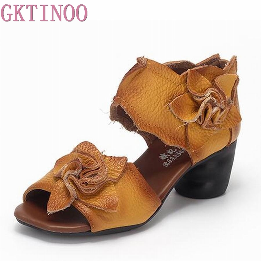 GKTINOO Summer Women Sandals Fashion Shoes 2019 Open Toe Flowers Cow Genuine Leather Sandals Thick Heel