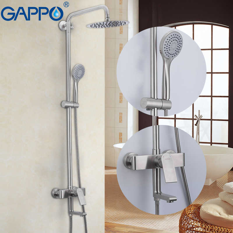GAPPO system prysznicowy do montażu na ścianie w łazience kran wodospad prysznic ze stali nierdzewnej łazienka opady deszczu prysznic zestaw do kąpieli kran wannowy