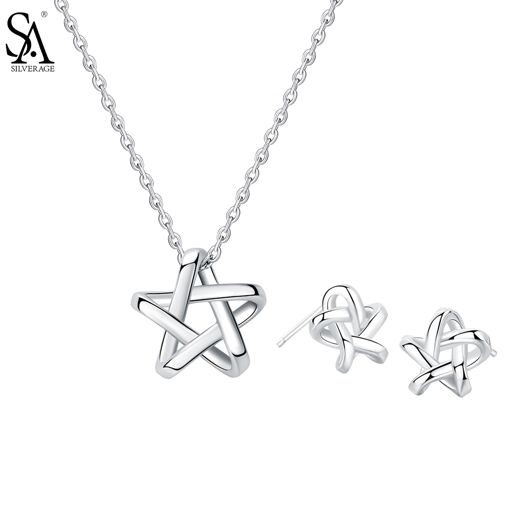 SA SILVERAGE Real 925 Sterling Silver Jewelry Sets Star Stud Earrings & Pendant Necklaces Silver Pendant Necklaces ChokersSA SILVERAGE Real 925 Sterling Silver Jewelry Sets Star Stud Earrings & Pendant Necklaces Silver Pendant Necklaces Chokers