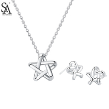 SA SILVERAGE Real 925 Sterling Silver Jewelry Sets Star Stud Earrings & Pendant Necklaces Silver Pendant Necklaces Chokers silverage real 925 sterling silver star jewelry sets for women fine jewelry star necklaces couple jewelry wedding gifts