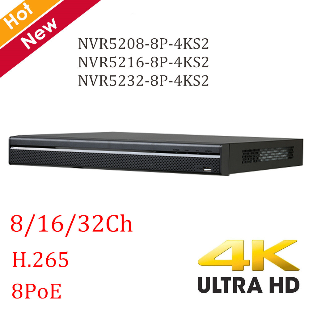 4 k DH NVR 8ch 16ch 32ch NVR5208-8P-4KS2 NVR5216-8P-4KS2 NVR5232-8P-4KS2 H.265 8 ports POE 4 k résolution NVR enregistreur