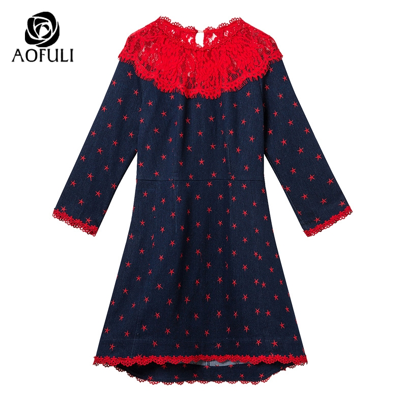 S M L Women Blue Denim Dresses Plus Size Lace Hollow Stars Embroidery Slim  Trumpet Dress 3 4 Sleeve High Low Jeans Dress 3228-in Dresses from Women s  ... a11a6465c4a6
