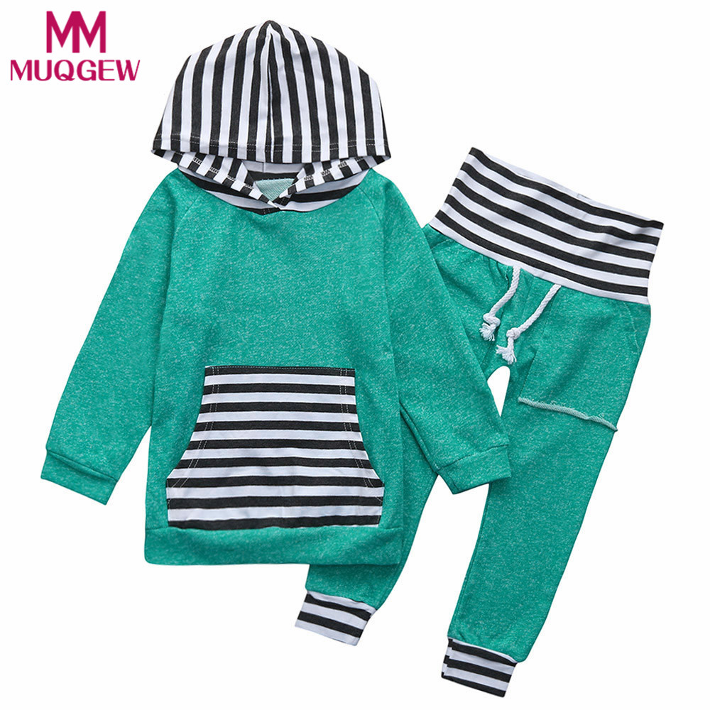 MUQGEW 2PCS Kids Baby Boys&Girls Warm Hooded Tops Sweatshirt Pants Outfits Clothes Set children clothing party dress winter suit