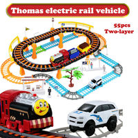 Thomas Electric Rail Car Two layer Spiral Track Roller Coaster Slot car Toy Track Diecast Railway toys For Kids