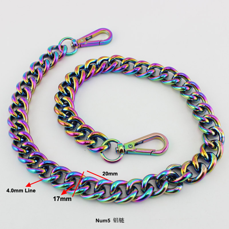 17mm NEW Fashion Rainbow Aluminum Chain Light Weight Bags Purses Strap Accessory Factory Quality Plating Cover Wholesale