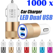 1000pcs Dual Ports Phone Chargers Metal LED USB Charging Plug Adapter Customized 5V 2.1A Car Charger for iPhone Samsung MP4